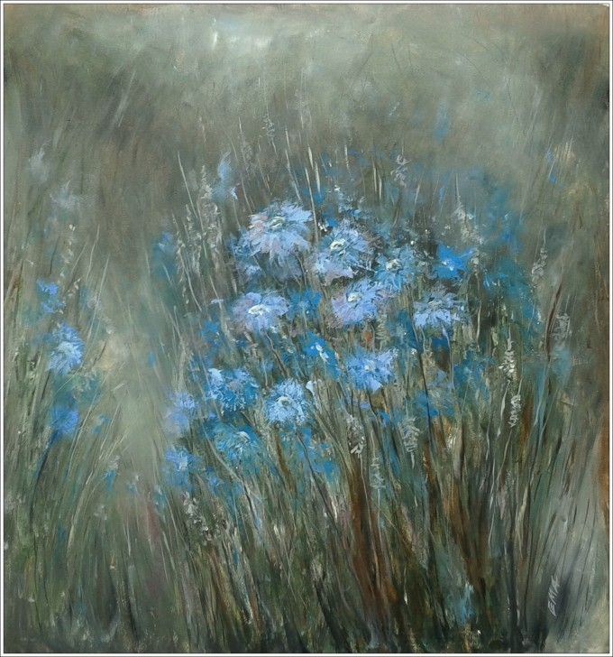 Original oil painting of blue flowers under the moonlight