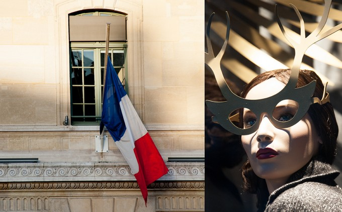 paris, mourning, weekend after the paris attacks, mannequin, autumn in Paris, French flag, flag hafl mast