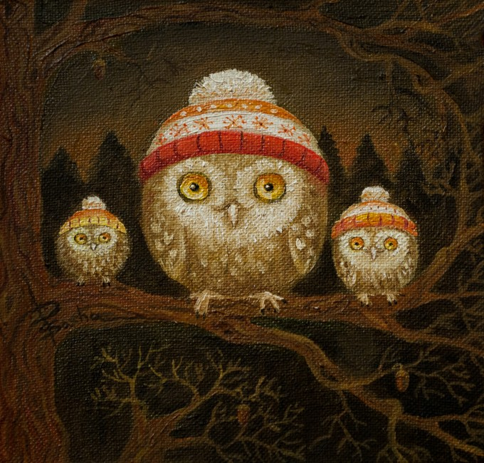 Small owls / 2013 /oil on canvas / 15x15 cm