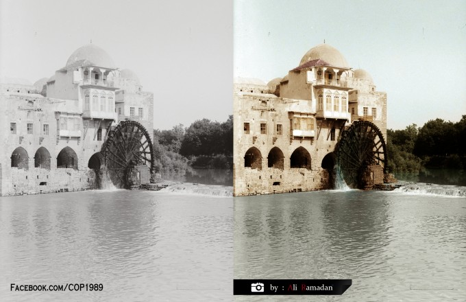 Hama - Syria 1935 Archaeological monuments can mention Noria based on the Orontes River, especially in the city of Hama in Syria, which has made some historians call this city Noria name of the city as well as the other name for it is the city of Abu redemption. The date of waterwheels to the era of the Arameans, showing the Syrian effects sculptures and antique paintings for Noria, such as painting the magnificent mosaics discovered in columns Street in Apamea archaeological 55 km north of the city of Hama due panel date to 420 AD and is a mirror image of the chain plate (painting found in Damascus National Museum) as well as the effects of near Shayzar Castle.