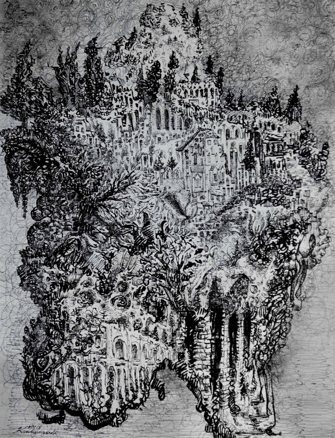 Mountain -Description : A vague image of imaginary mountain, and inspired by a short trip in Rome. - Black pen on canvas - Size : 27 x 36 cm - Oct.2015