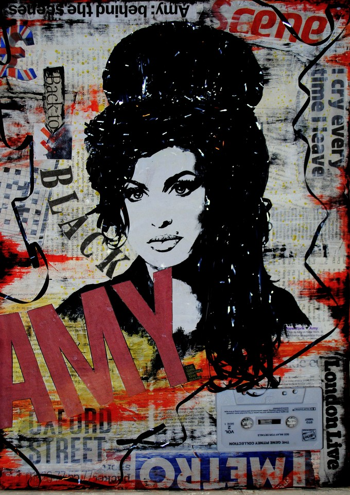 Amy Winehouse Back to Black - mixed media collage BASM 9