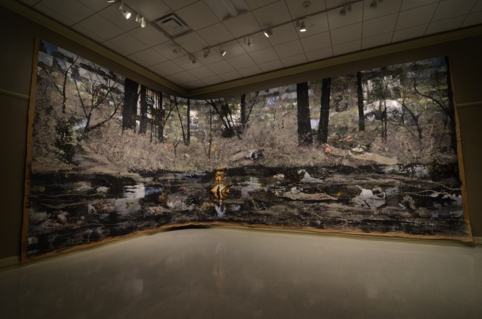 Mixed media collage, 12ft by 33ft comprised of photographs of the Dan River, and Ash.