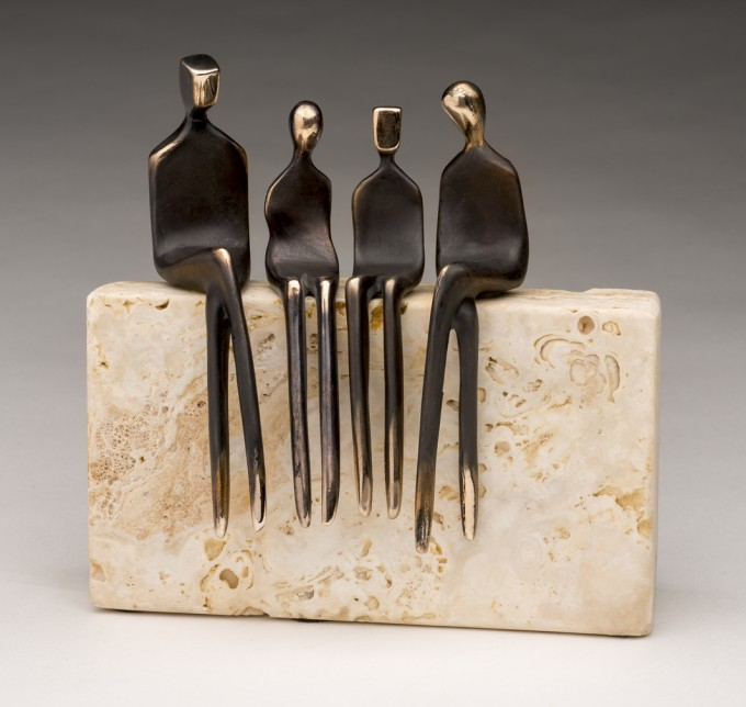 Bronze family of 4, by artist Yenny Cocq