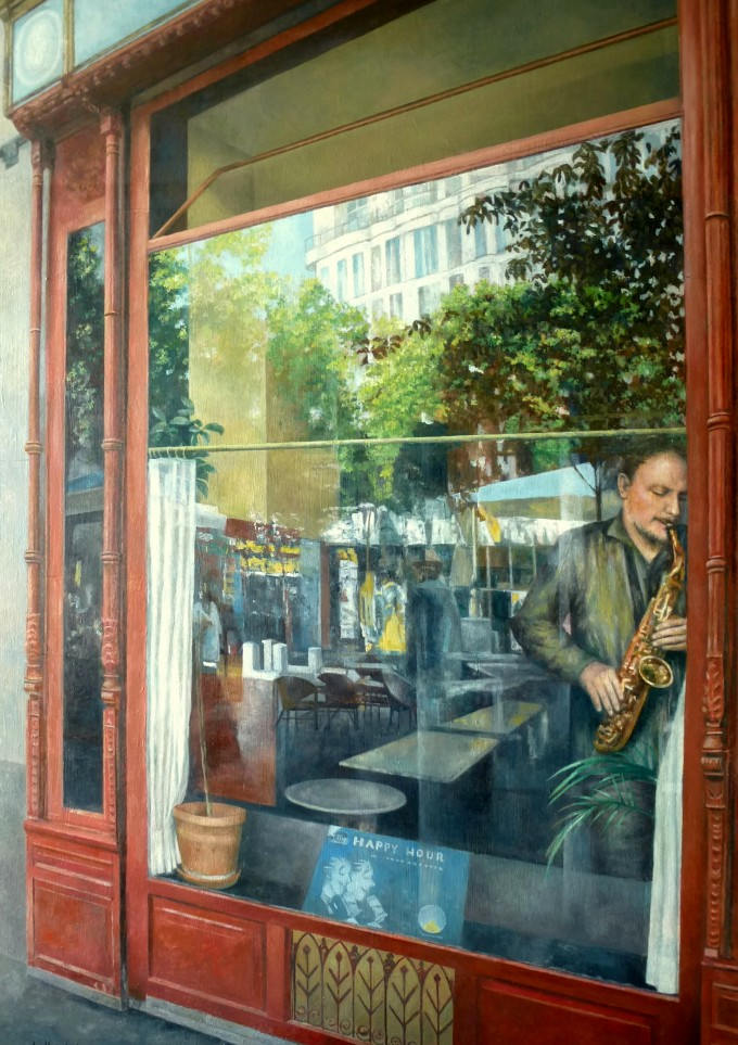 CAFÉ CENTRAL-Madrid. Óleo-tabla, 2015.