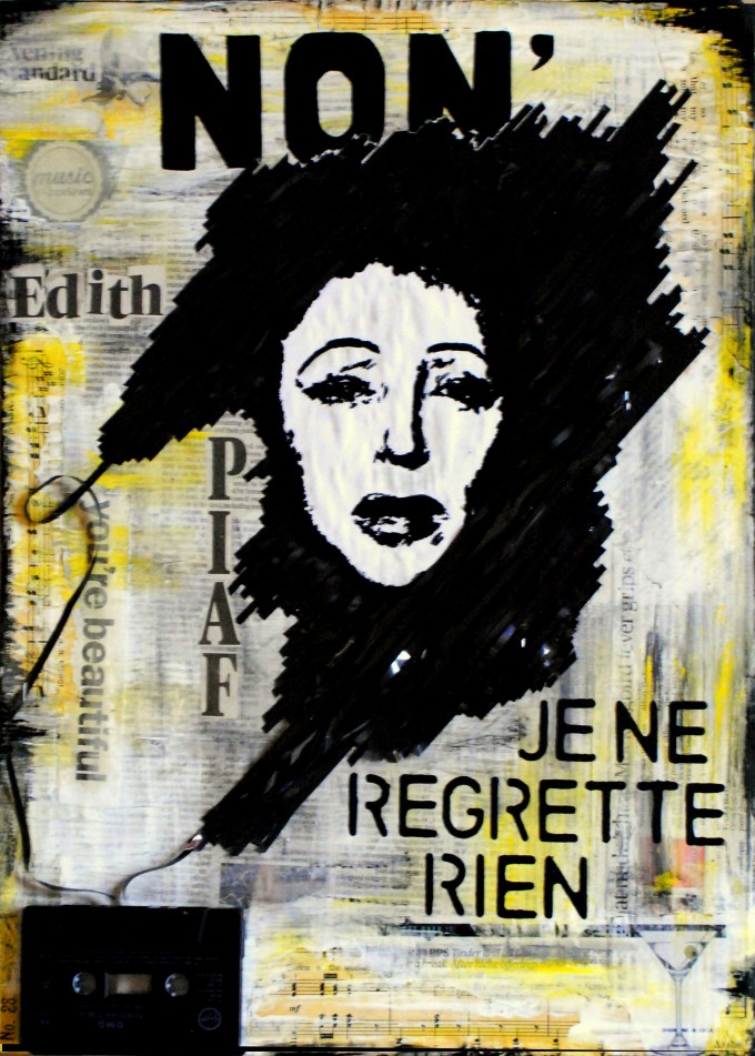 Edith Piaf mixed media collage BASM 9-001