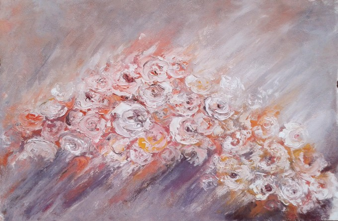 FLOWER FLOW, original oil painting by Emilia Milcheva