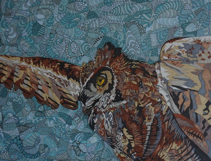 Eagle Owl by Sharon T Ross 2015 pen & ink on Paper 50x65cm