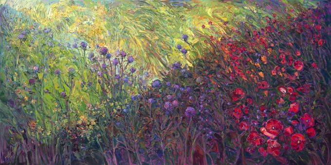 Fields of Bloom, Impressionistic Landscape by Erin Hanson