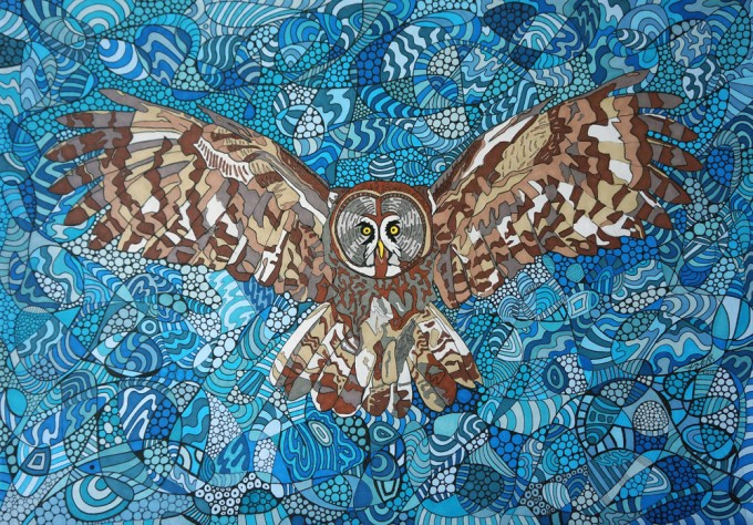 Flying Owl by Sharon T Ross 2015 pen & Ink on Paper 30x42cm