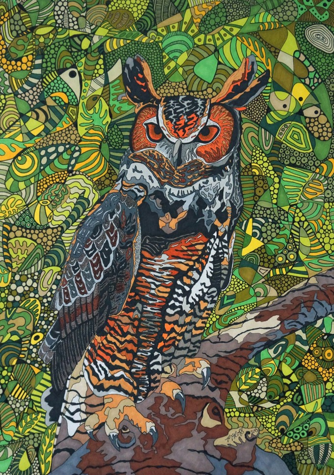 Great Horned Owl by Sharon T Ross Pen & Ink on Paper 30x42cm