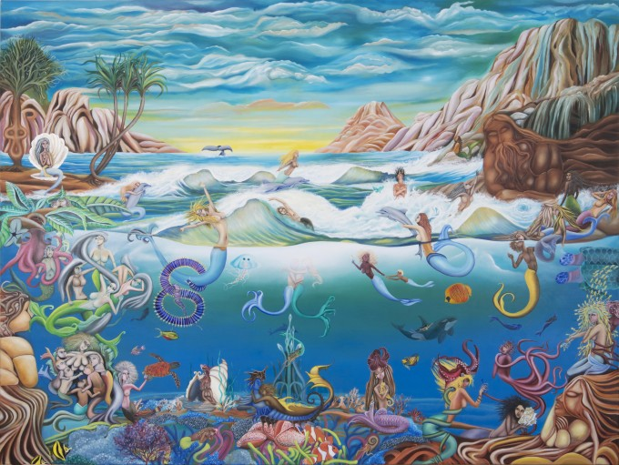 Media: Original Oil on Canvas By Babak Mobasheri Name: Mermaid in Wonderland Date: Feb 2014 – Aug 2015 Size: 200 x 150 cm (79'' x 60'') Process: https://www.facebook.com/media/set/?set=a.605443619537180.1073741834.249284255153120&type=3&uploaded=1
