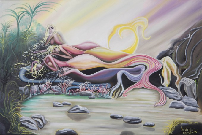 Media: Original Oil on Canvas By Babak Mobasheri Name: Four Sisters - Mermaid in Wonderland (Collections) Date: Sep. 2015 Size: 90 x 60 cm (36'' x 24'') © 2015. Babak Mobasheri