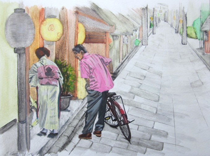 watercolor paper painting gion japan bicycle man woman street lanterns people being
