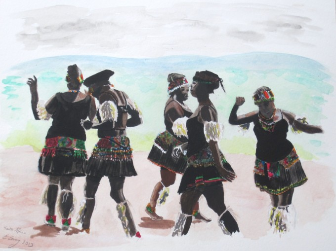 watercolor paper painting people women dancing South Africa tribes traditional people being