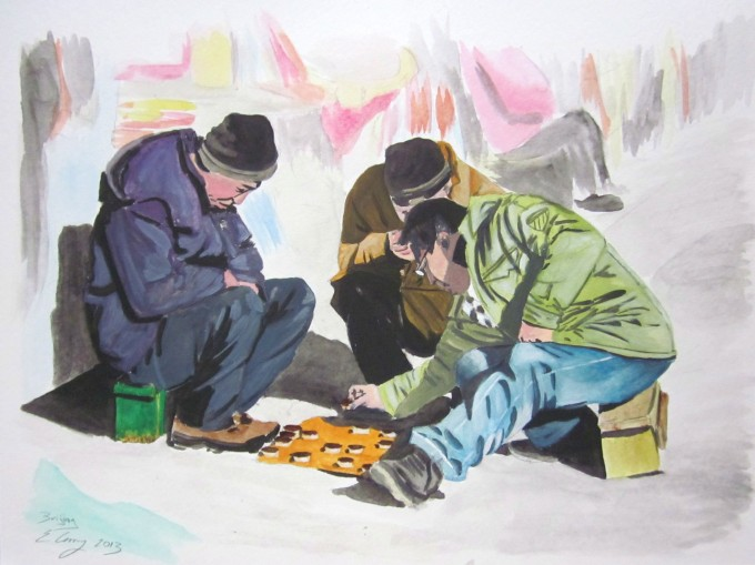 watercolor paper painting Beijing China men play game