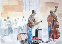 watercolor paper painting Cambridge England UK musicians electric guitar double base street market place speaker