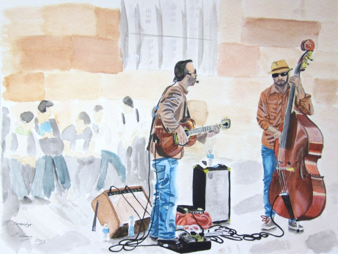 watercolor paintings painting paper being street playing paint series musicians guitar easy instruments pressed 200lb cold working place