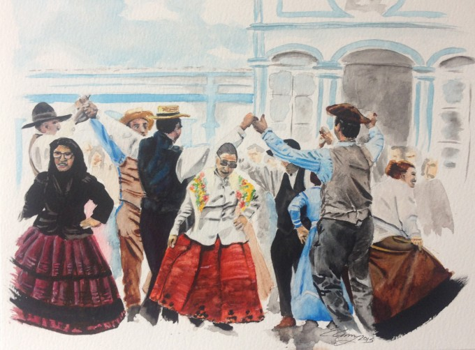 watercolor paper painting dance festival traditional men women skirts Azores Terceira Portugal