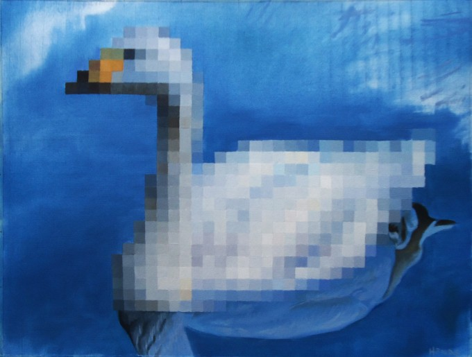 Swan Oil on papper 31 x 41 cm