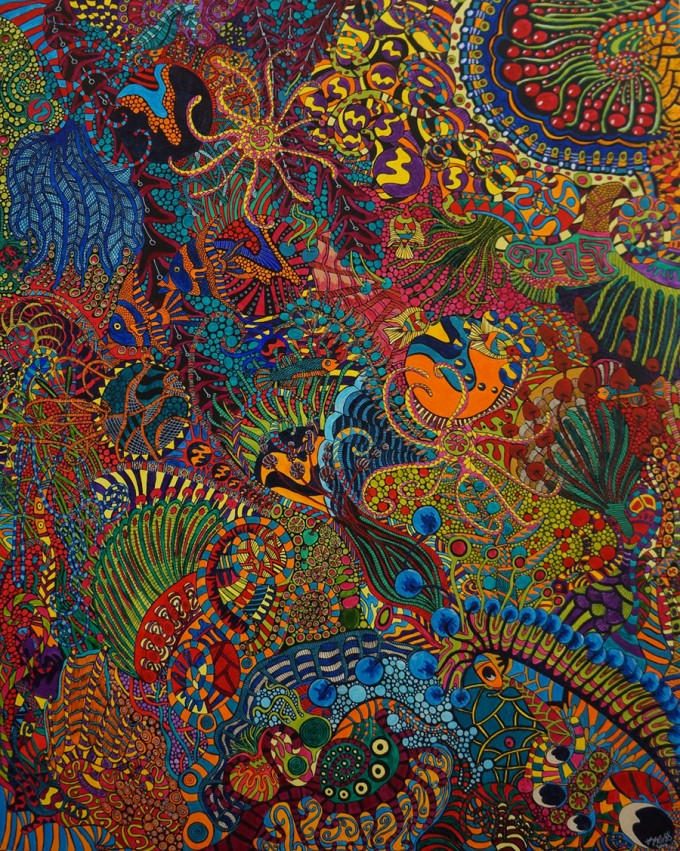 Tropical Riot, 2014, by Sharon T Ross, Acrylic on Board, 80 x 100cm