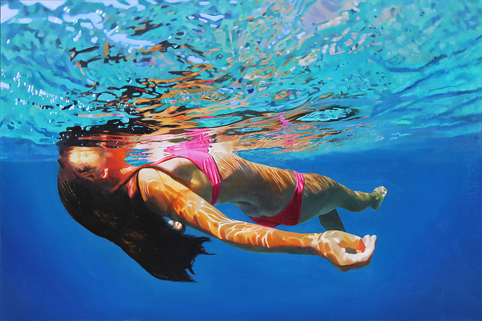 Realistic paintings of swimmers by Matt Story - Art People ...