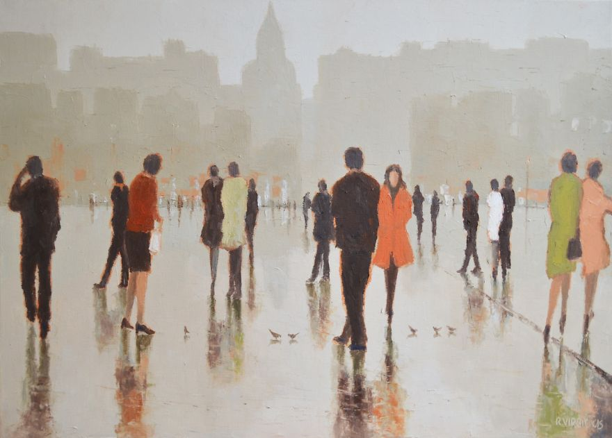 walking rain painting hundreds paintings rimantas square perspective cities abstract town meditative however totally romantic enjoy them collection artist oil