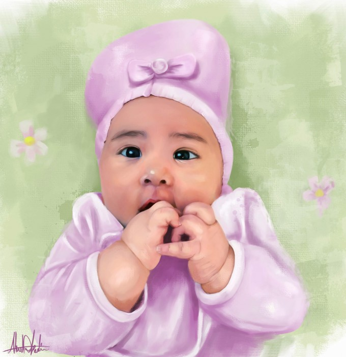 Cute baby girl in pink Painting Portrait Kid