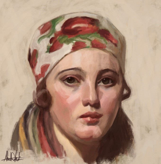Ols Maria Anders Zorn Digital Painting Portrait by Ahmad Kadi