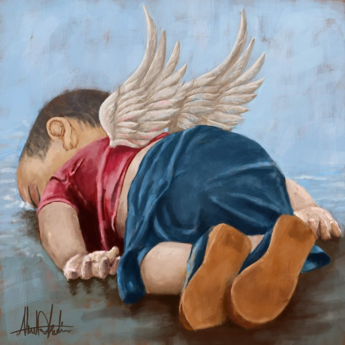 Alan Kurdi Angel Baby Painting one of the Syrian refugees who die trying to escape from thewar