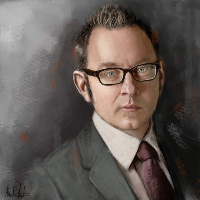 A portrait of Harold Finch from the CBS crime drama television series Person of Interest ,portrayed by Michael Emerson Portrait by Ahmad Kadi