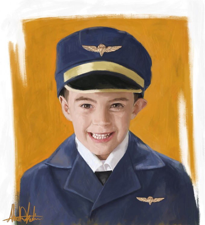Cute boy wants to be a Pilot when he grows up