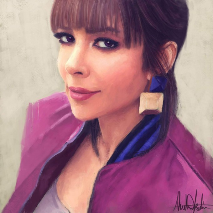 Assala Nasri Singer Painting Portrait by Ahmad Kadi