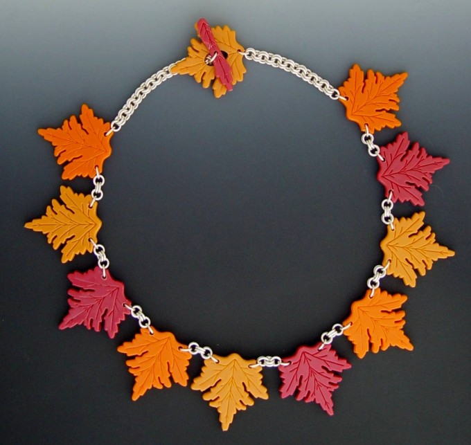 Neckpiece - Plastic Leaf Toothpicks, Sterling Jump Rings