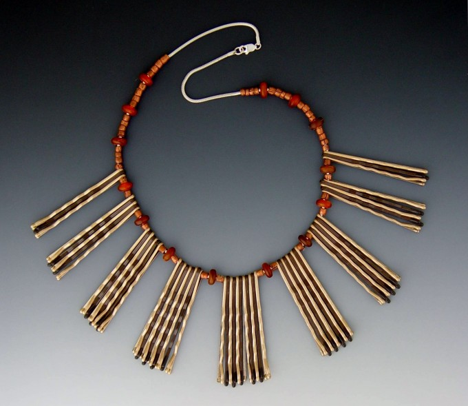 Neckpiece - Bobby Pins, Horn Beads, Sterling Chain
