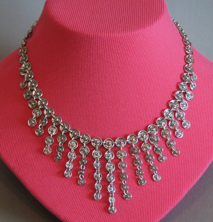 Neckpiece - Sewing Snaps, Sterling Jump Rings