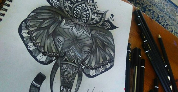 A drawing completed using a black ink ball point pen.
