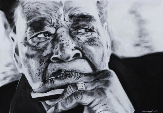 A moment with Mr. Cotton 70x100cm charcoal on paper 2014. (2)