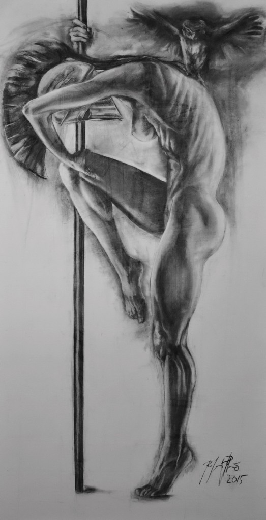 charcoal on paper 200 x 100 cm year2015