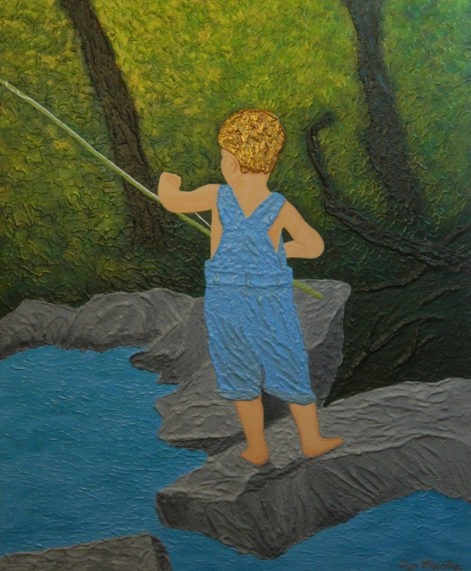 Contemporary impressionist painting featuring an adventuresome boy, fishing by a stream in woodlands.