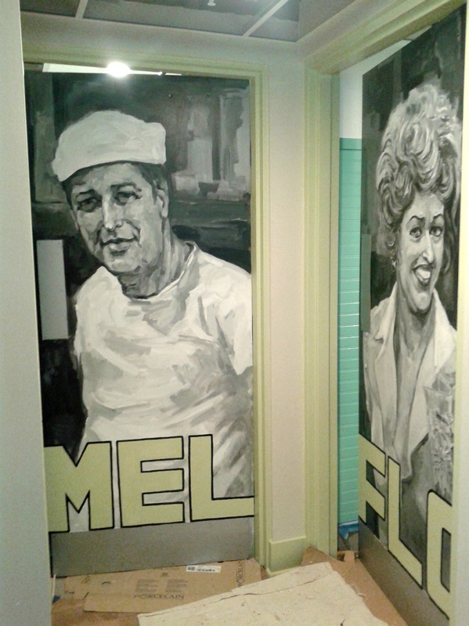 anna's house restaurant mural, black and white mural, restaurant mural, muralbydesign, portrait mural,