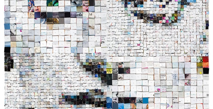 'Blurred identity' 3d portrait collage-mosaic, 142x142x6 cm