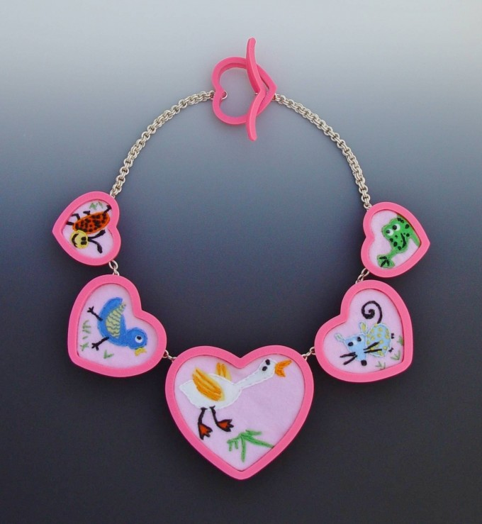 Neckpiece - Plastic Cookie Cutters, Flannel, Embroidery Thread