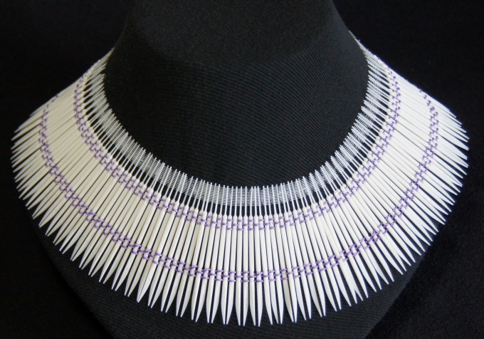 Neckpiece - Plastic Dental Picks, Linen Thread