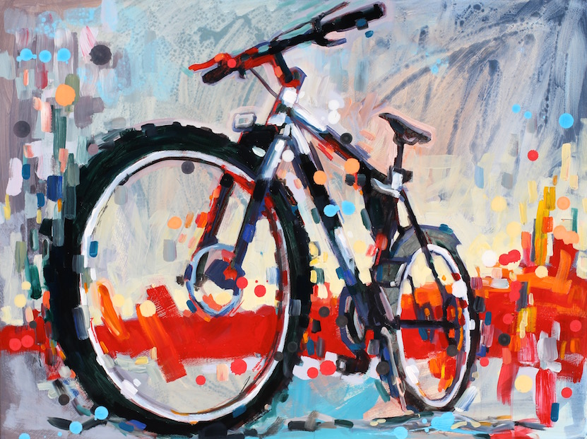Acrylic paintings of animal humans birds and bikes art for Bicycle painting near me
