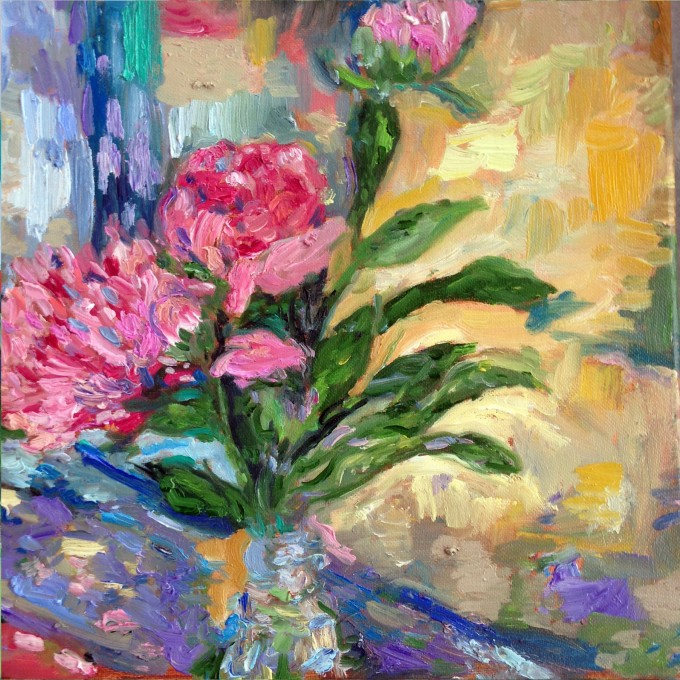 pink peonies painted in oil