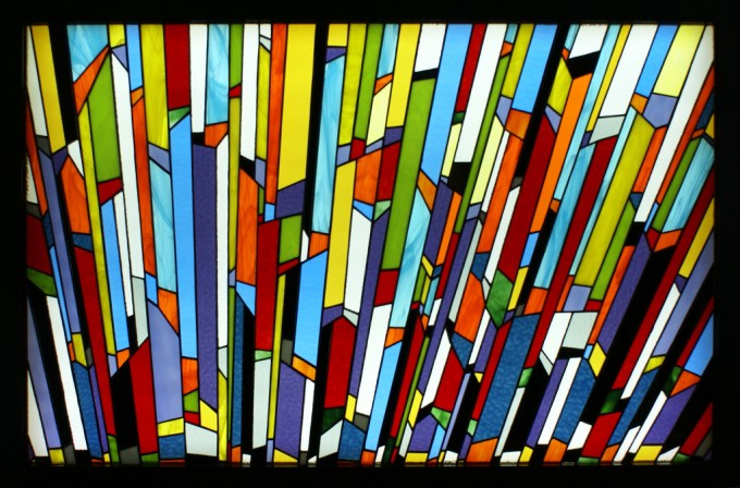 Tiffany method stained glass backlighted 30 x 44,5 in / 76,2 x 113 cm