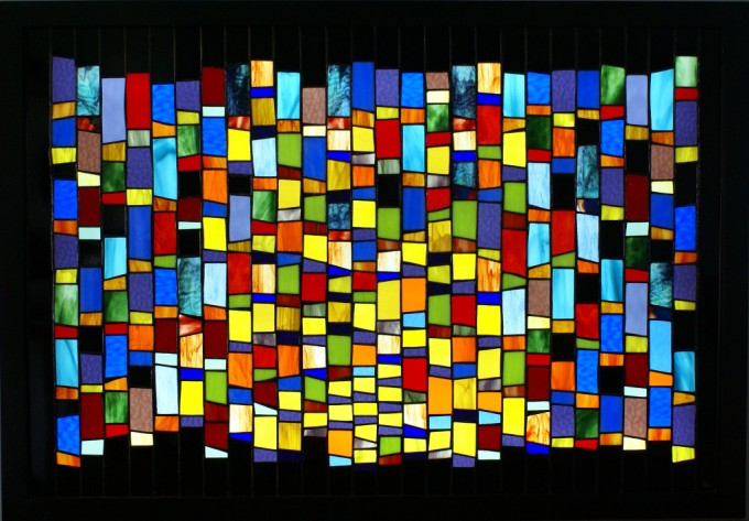 Tiffany method stained glass backlighted 30 x 43 in / 76,2 x 113 cm