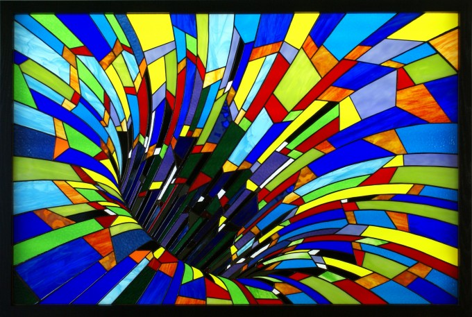 Tiffany method stained glass backlighted 56½ x 37¾ in / 143,5 x 95,8 cm
