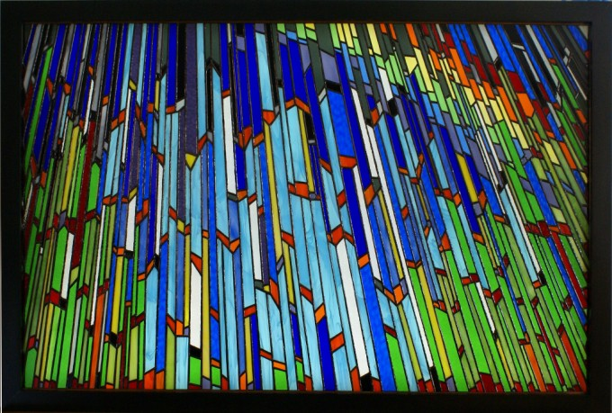Tiffany method stained glass backlighted 30 x 44½ in / 76,2 x 113 cm
